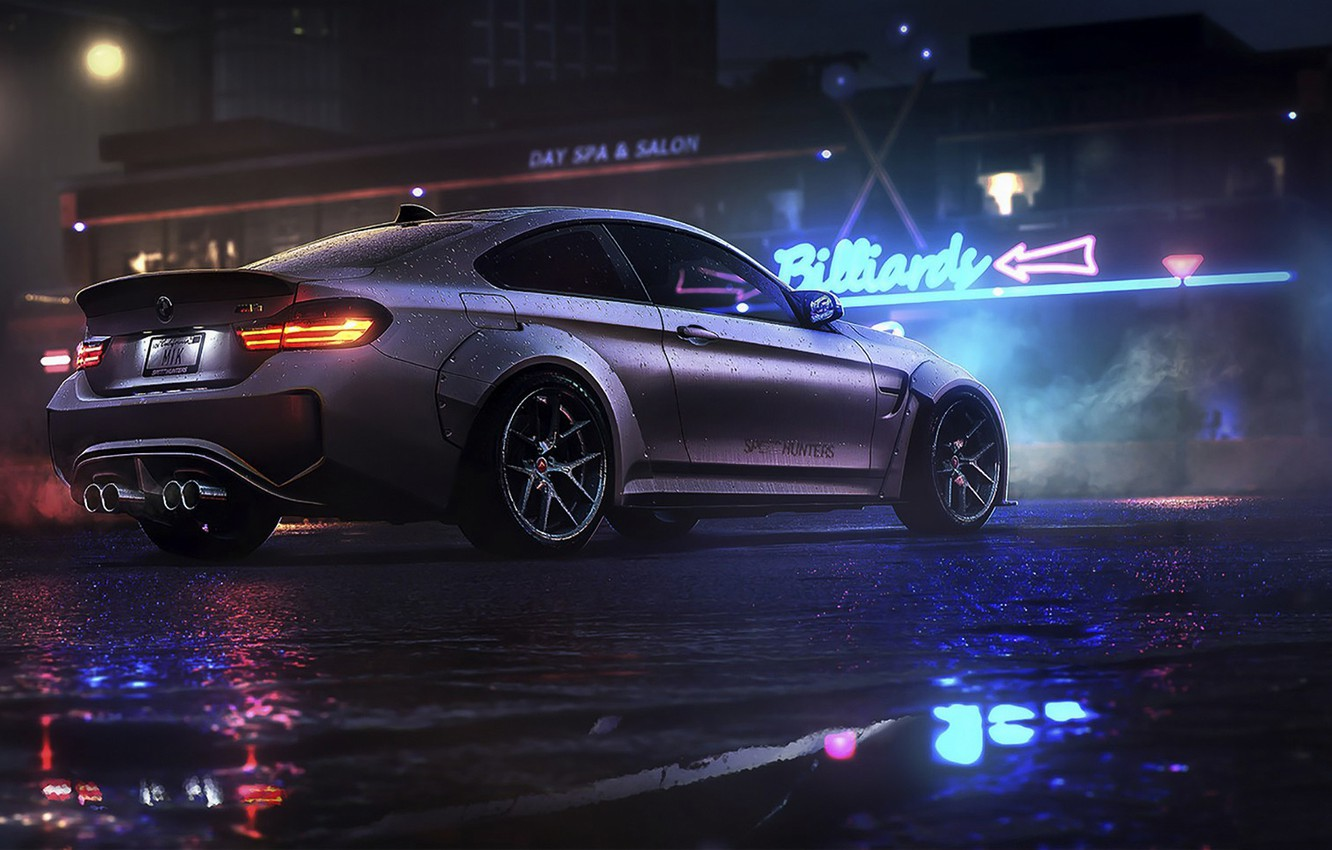 Фото обои ночь, BMW, game, NFS, night, art, Electronic Arts, Need For Speed, BMW M4, Need For …