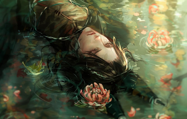 Фото обои парень, черные волосы, хризантемы, в воде, закрытые глаза, лисьи ушки, лежит на спине, Cecile, круги …