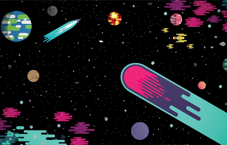 Фото обои белый, фиолетовый, космос, звезды, свет, оранжевый, синий, желтый, красный, зеленый, блики, жёлтый, серый, тьма, огонь, …