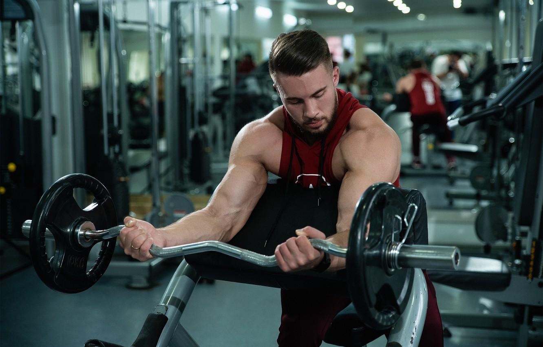 Фото обои сила, спорт, зал, тренер, мышцы, штанга, бодибилдинг, качалка, бицепс, gym