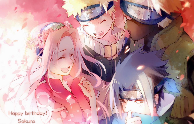 Фото обои команда, Naruto, друзья, венок, улыбки, ниндзи, розовые волосы, Sasuke Uchiha, Sakura Haruno, Naruto Uzumaki, Hatake …