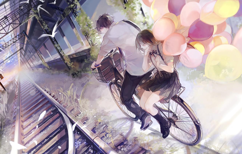 Фото обои птицы, воздушные шары, романтика, рельсы, прогулка, свидание, платформа, школьники, ж.д. вокзал, на велосипеде, парень с …