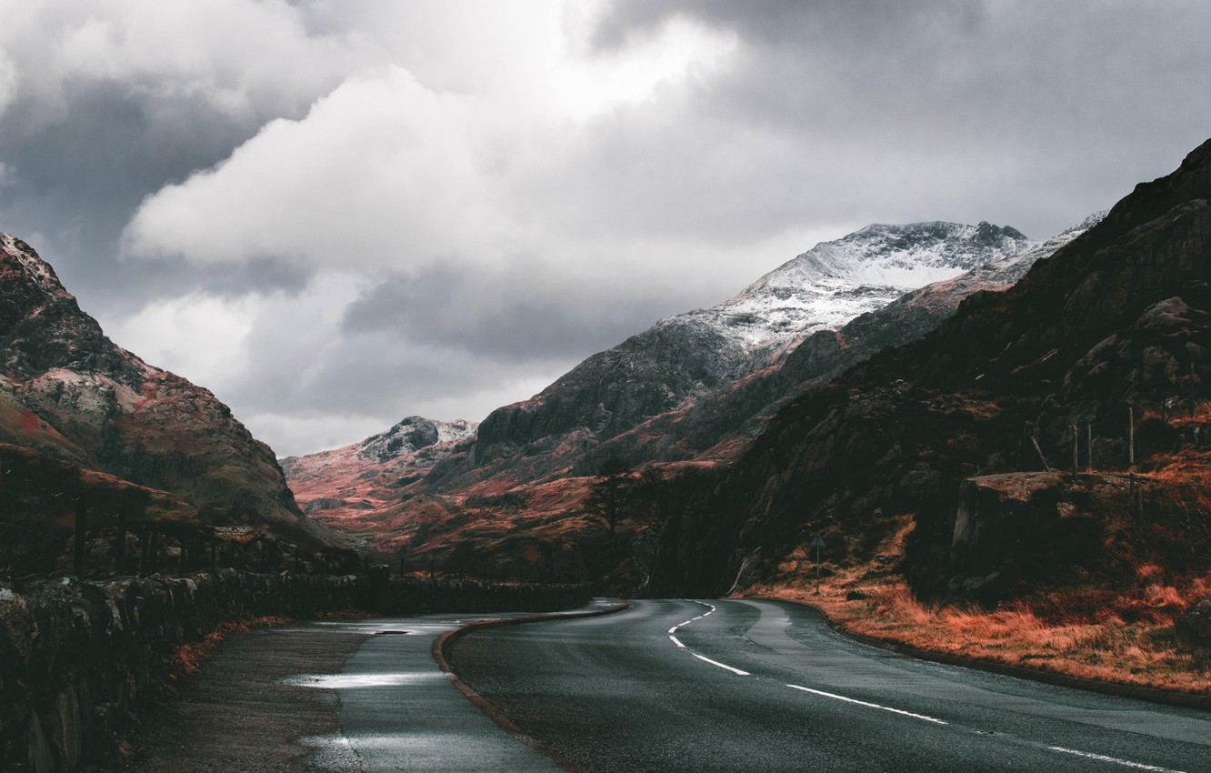Фото обои road, autumn, mountains, clouds, valley
