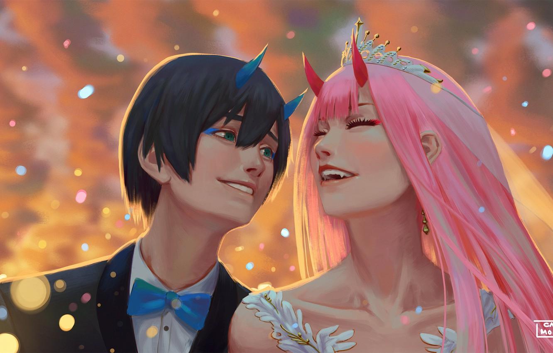Фото обои свадьба, Hiro, Darling in the FranXX, Zero Two, by hector026