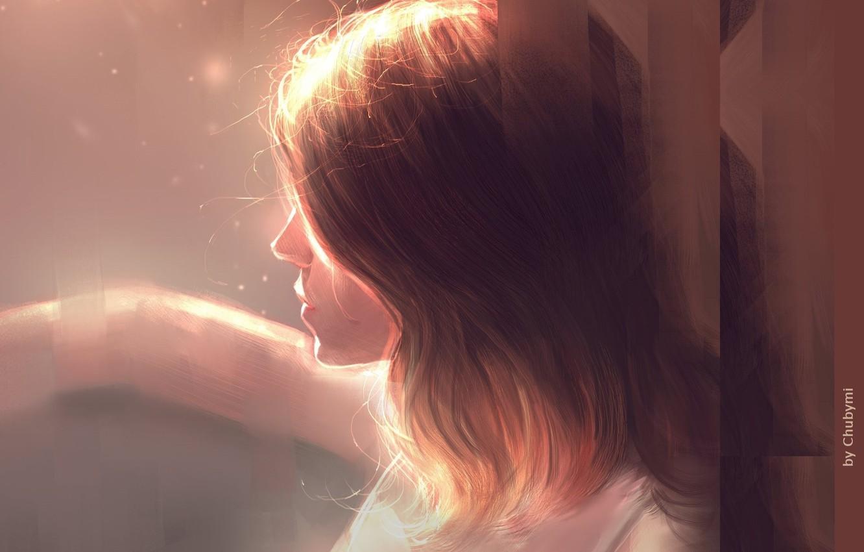 Фото обои рука, шатенка, в профиль, портрет девушки, свет и тень, by Chuby Mi