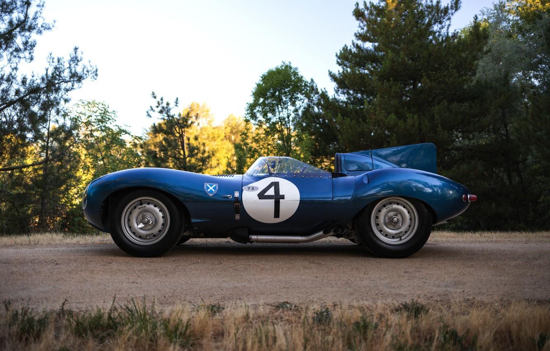 Фото обои номер, вид сбоку, гоночный автомобиль, Jaguar D-Type