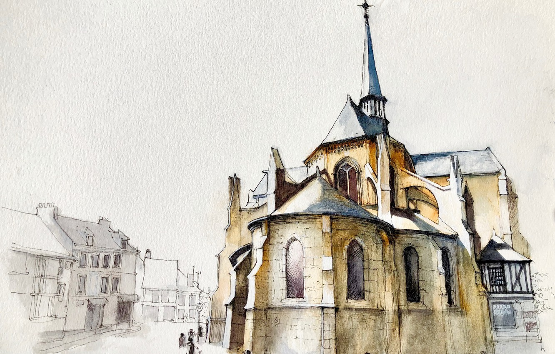 Фото обои рисунок, Normandy, Les Andelys, Noyers