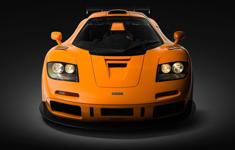 Фото обои Orange, Supercar, Вид спереди, 1995, McLaren F1 LM