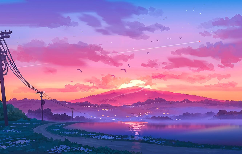 Фото обои закат, столбы, провода, тишина, гора, розовые облака, берег реки, туман вечером, дорога в даль, птицы …