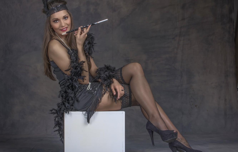Фото обои девушка, стиль, сигарета