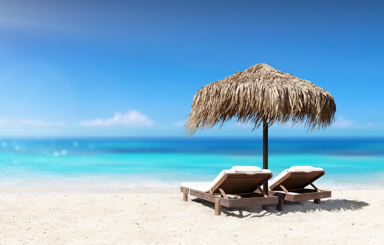 Фото обои песок, море, пляж, отдых, beach, sea, sand, paradise, vacation, palms, tropical