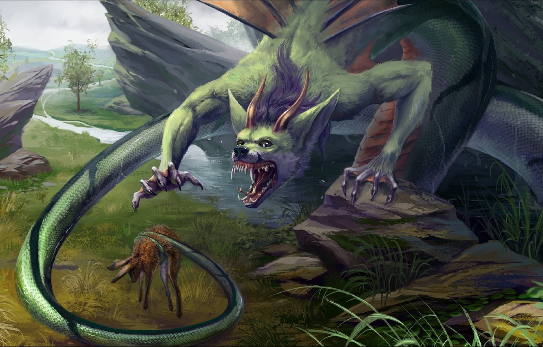 Фото обои horror, Fantasy, dragon, situation, trophy hunt