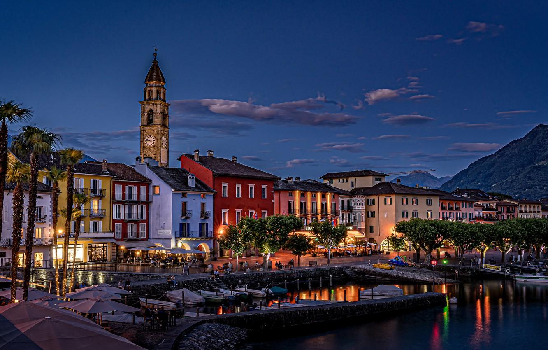 Фото обои озеро, пальмы, здания, дома, лодки, Швейцария, набережная, Switzerland, гавань, Аскона, Ascona, Lake Maggiore, Озеро Лаго-Маджоре