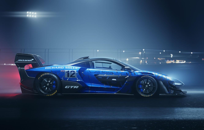 Фото обои машина, свет, ночь, McLaren, GTR, диски, Senna, track car