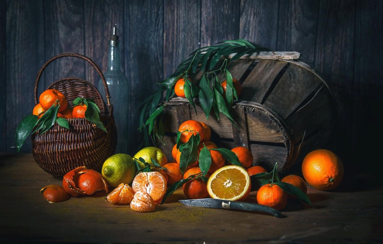 Фото обои лимон, апельсины, плоды, нож, цитрусы, мандарины