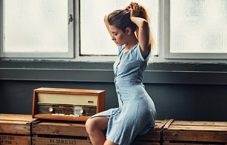 Фото обои поза, волосы, Девушка, платье, ножки, сидит, EIKONAS, Kate Chromia, Катерина Марченко