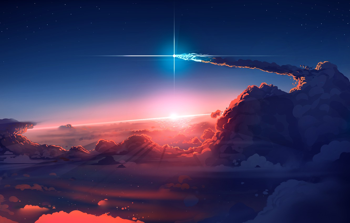 Фото обои Sky, sunset, art, clouds, stars, sun, digital art, artwork, comet