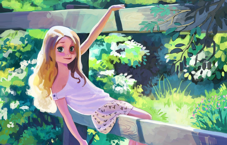 Фото обои лето, трава, деревья, рисунок, забор, арт, девочка