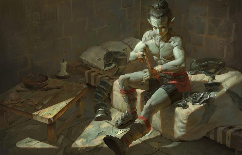 Фото обои арт, боец, Наранбаатар Ганболд, ручная упаковка, фнентези