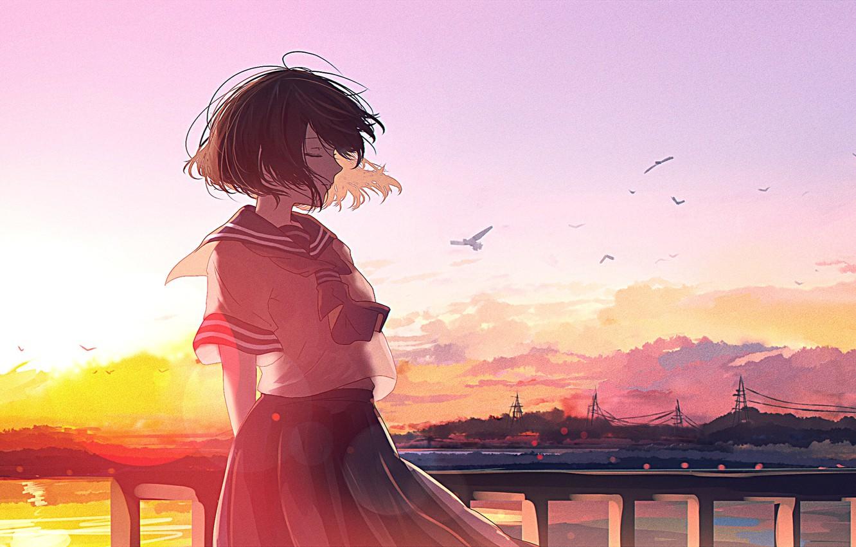 Фото обои sunset, anime, art, mifuru