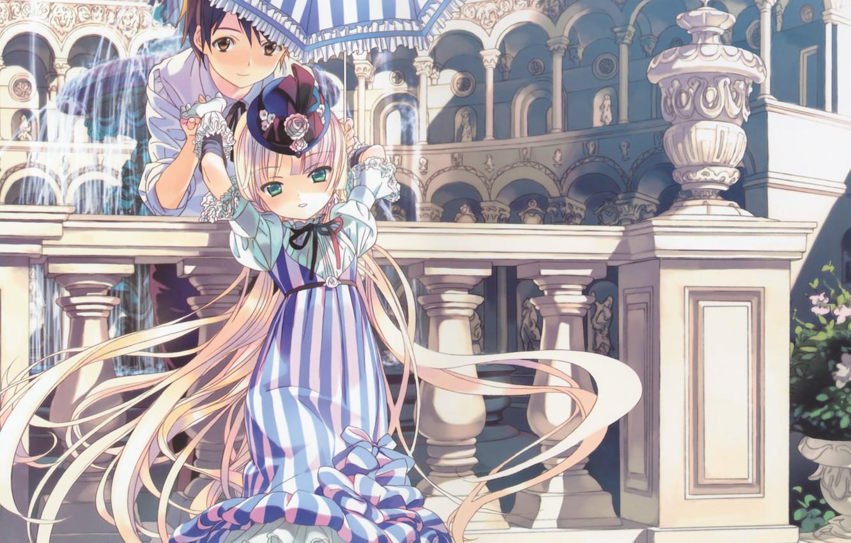Фото обои зонт, колонны, фонтан, ваза, шляпка, арки, в полоску, gosick, kujou kazuya, victorique de broix, длинные …
