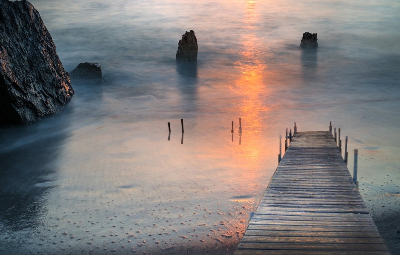 Фото обои sunset, seaside, bay