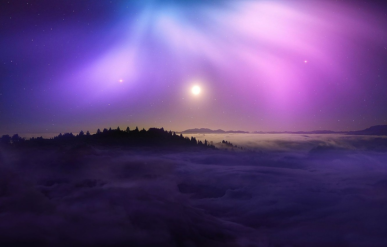 Фото обои colorful, nature, night, mountains, clouds, stars, sun, night sky, purple, landscape beautiful, beautifful landscape, night …
