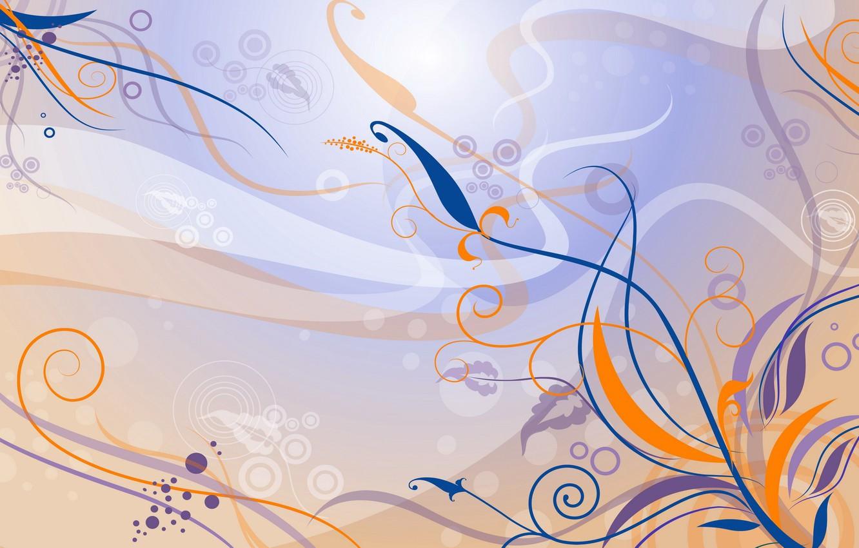 Фото обои цветы, оранжевый, синий, сиреневый, узор, вектор, арт, Фон, Текстура