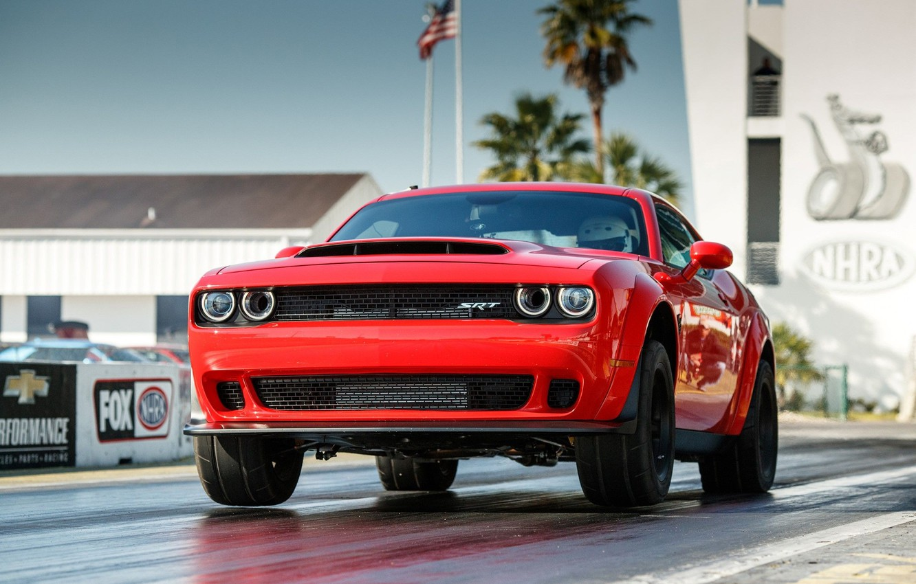 Фото обои Red, SRT, Demon, Drag Racing, Dodge Challenge