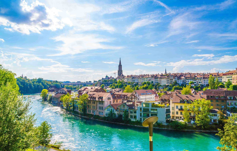 Фото обои река, Швейцария, Берн, Беренграбен