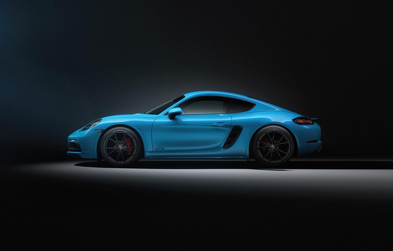 Фото обои Авто, Синий, Porsche, Машина, Cayman, Голубой, Car, Рендеринг, Вид сбоку, Transport & Vehicles, Sergey Poltavskiy, ...