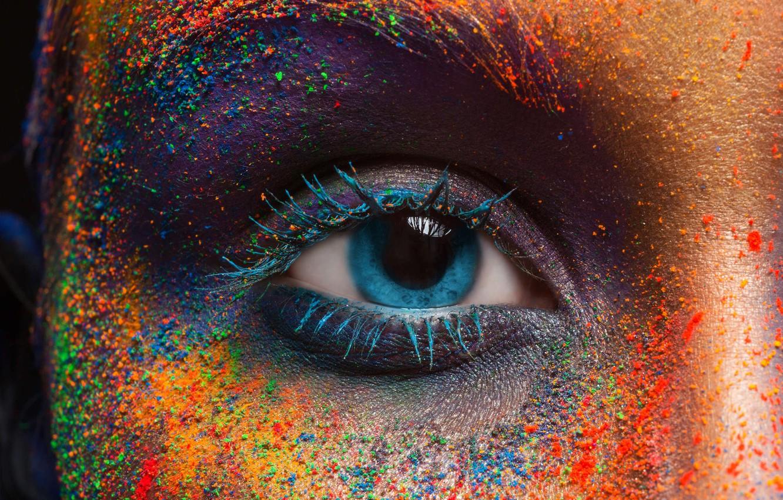 Фото обои глаз, краски, зрачок, цветной, разноцвет, фестиваль