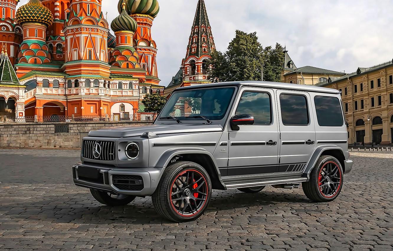 Фото обои Храм, Купола, Красная площадь, AMG, Moscow, G63, Mercedes-Benz G63 AMG, Gelendevagen