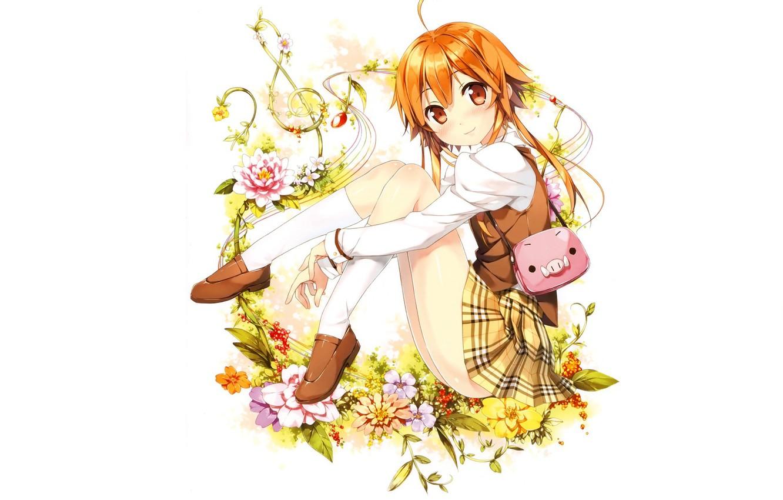 Фото обои белый фон, сумочка, гольфы, скрипичный ключ, полевые цветочки, рыжая девочка, by kantoku, юбка в клеточку, …