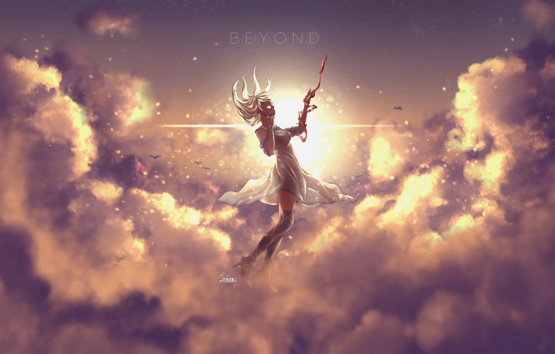 Фото обои небо, девушка, облака