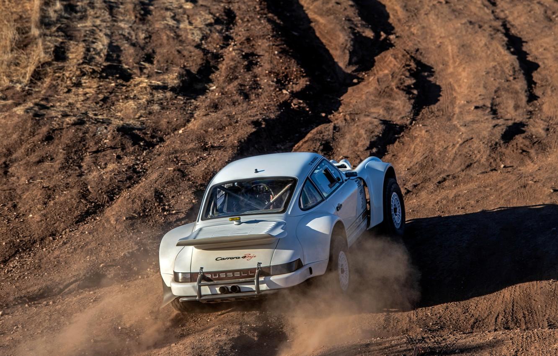 Фото обои земля, пыль, 911, Porsche, сзади, 964, 2019, 911 Baja Prototype, Russell Built Fabrication