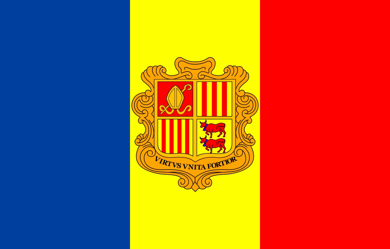Фото обои флаг, fon, flag, coat of arms, andorra, андорра