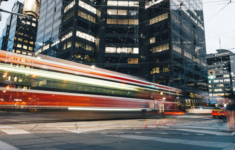 Фото обои свет, город, движение, выдержка