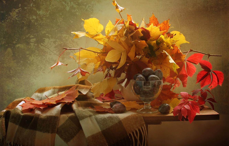 Фото обои листья, ветки, ягоды, шарф, фрукты, натюрморт, сливы, столик, вазочка, креманка, Ковалёва Светлана
