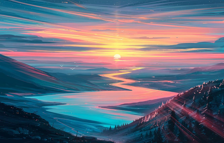 Фото обои forest, river, sky, trees, landscape, nature, sunset, art, mountains, stars, birds, sun, digital art, artwork, …