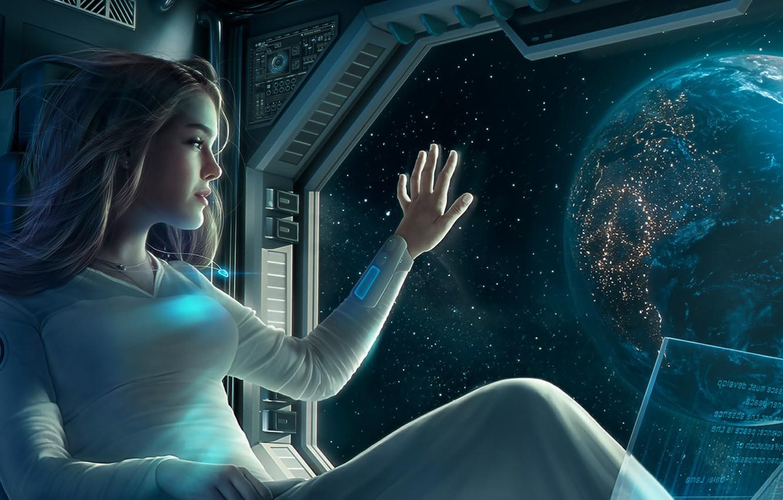 Фото обои space, girl, fantasy, Earth, computer, science fiction, stars, sci-fi, planet, artwork, fantasy art, illustration, futuristic, …