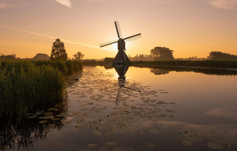 Фото обои рассвет, утро, мельница, канал, Нидерланды, South Holland, Overslingeland