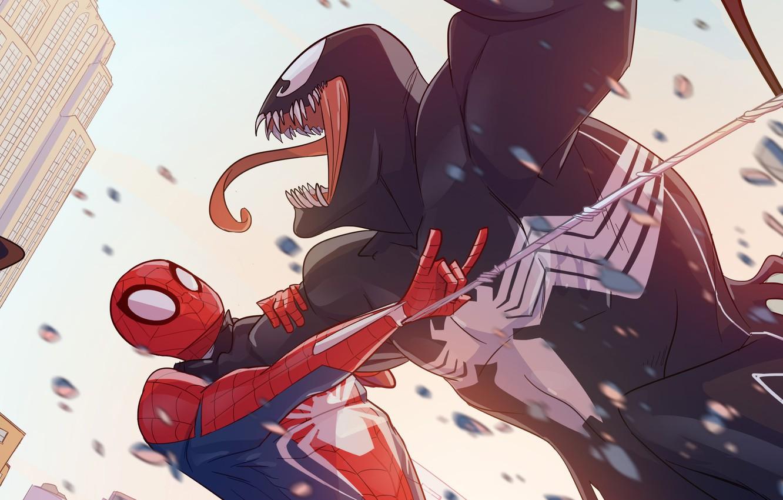 Фото обои Venom, Peter Parker, Spider Man, Fight, Eddie Brock