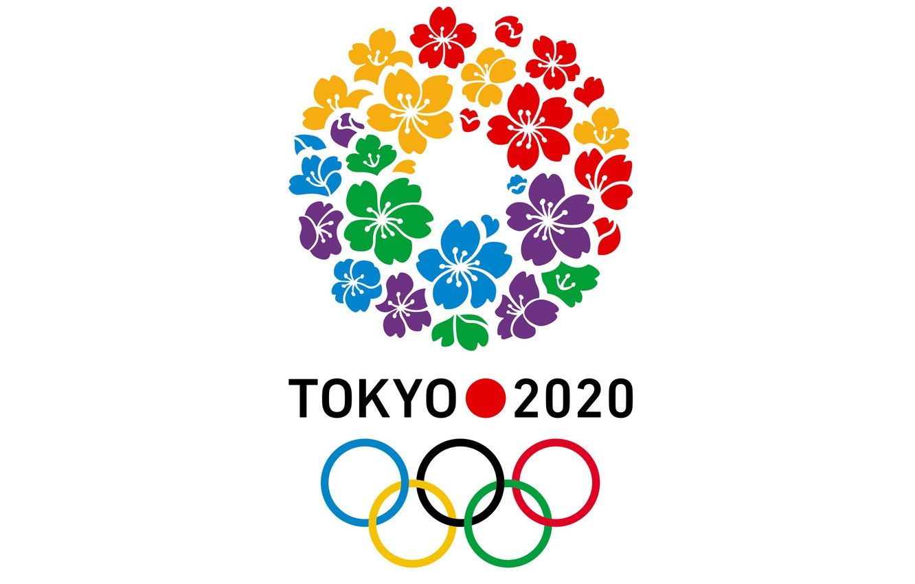 Фото обои colorful, sport, logo, minimalism, olympic games, white background, simple background, Tokyo 2020