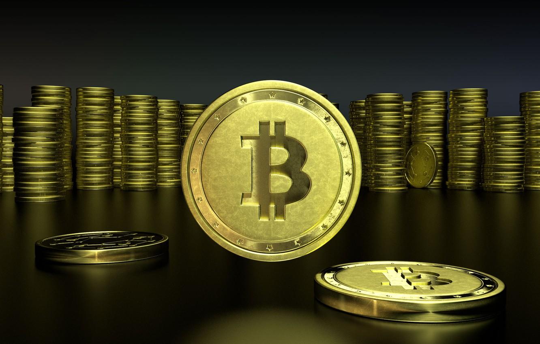 Фото обои стол, лого, logo, монеты, fon, bitcoin, биткоин