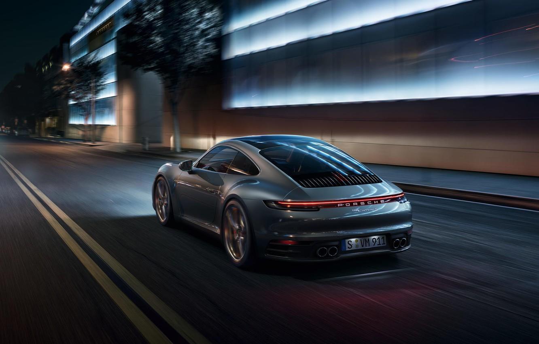 Фото обои машина, свет, ночь, город, огни, фонари, спортивная, Porsche 911 Carrera S, 992, 2019