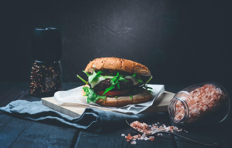 Обои котлета, Сэндвич, hamburger, Meat, Гамбургер, tomatoes, салат, булочка, Fast food, картошка фри, фастфуд, соус. Еда foto 9