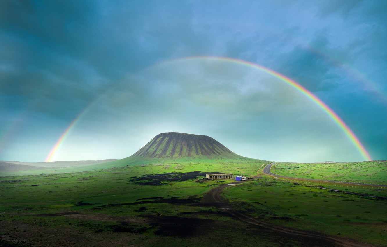 Фото обои радуга, вулкан, rainbow, volcano