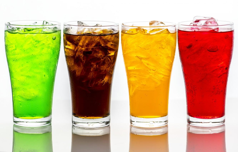 Фото обои стакан, краски, лёд, напиток, содовая