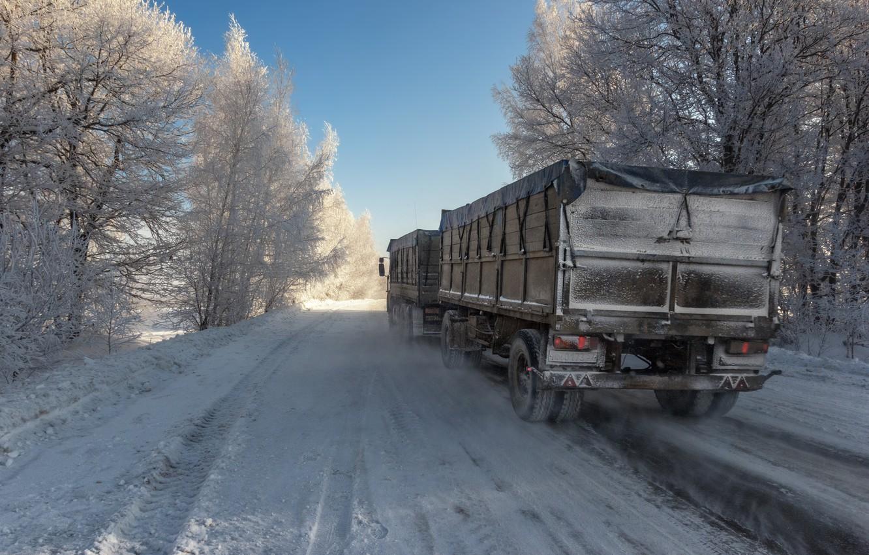 Фото обои зима, дорога, автопоезд, фотоэтюд